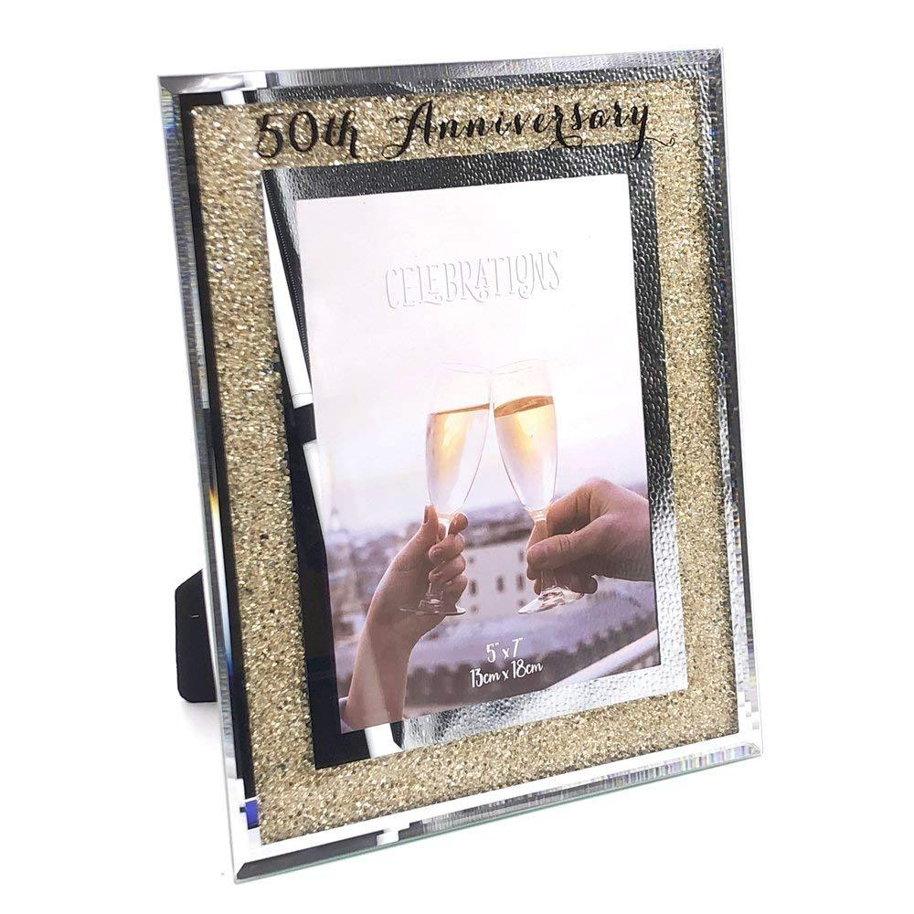 50th Golden Wedding Anniversary Crystal Border 5 x 7 Photo Frame Gift - ukgiftstoreonline
