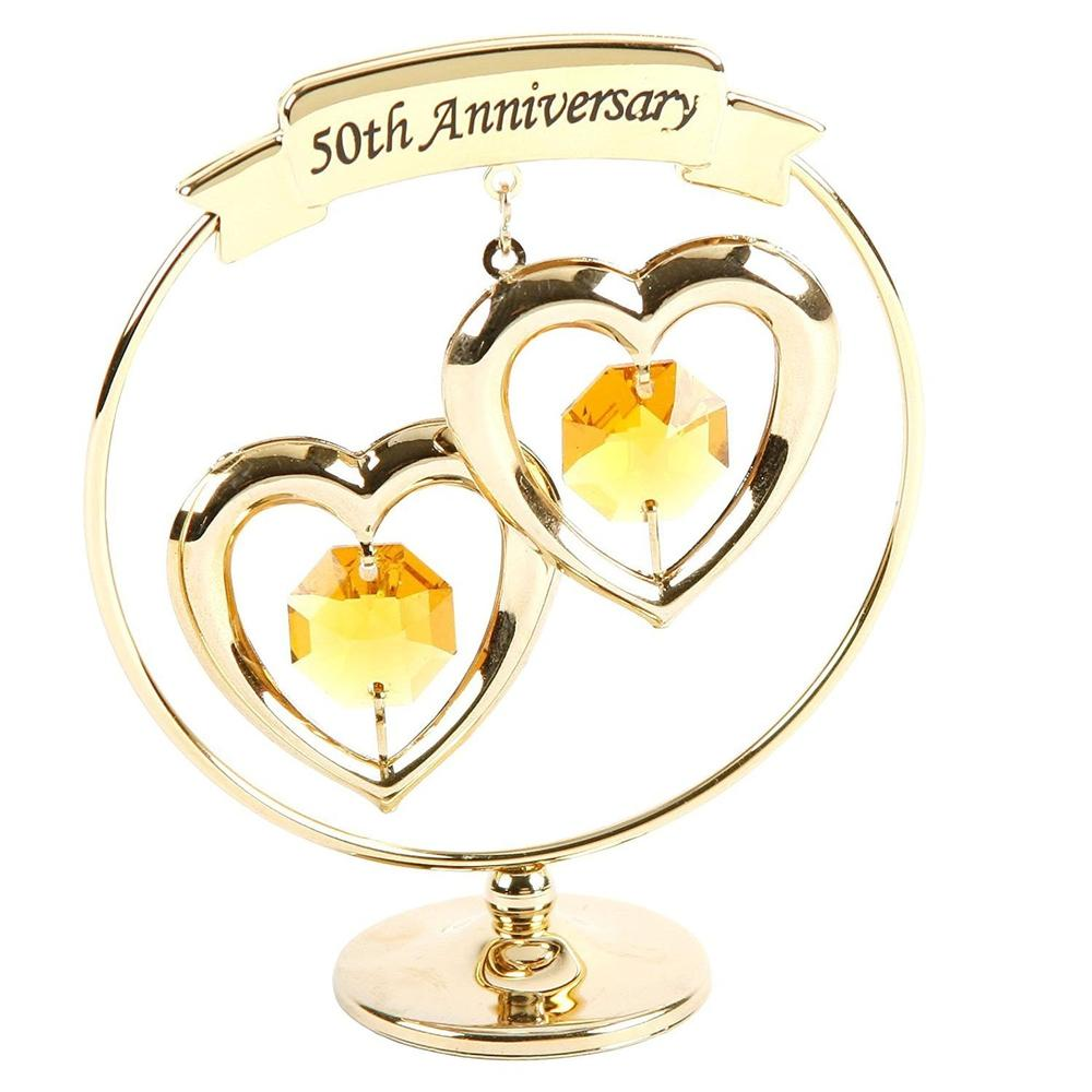 50th Golden Wedding Anniversary Gift Gold Ring with Hearts - ukgiftstoreonline