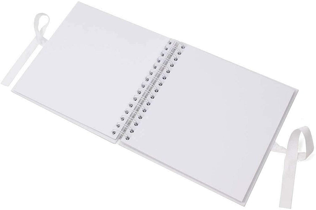 60th Anniversary Diamond White Scrapbook Guest Book Photo Album Silver Script
