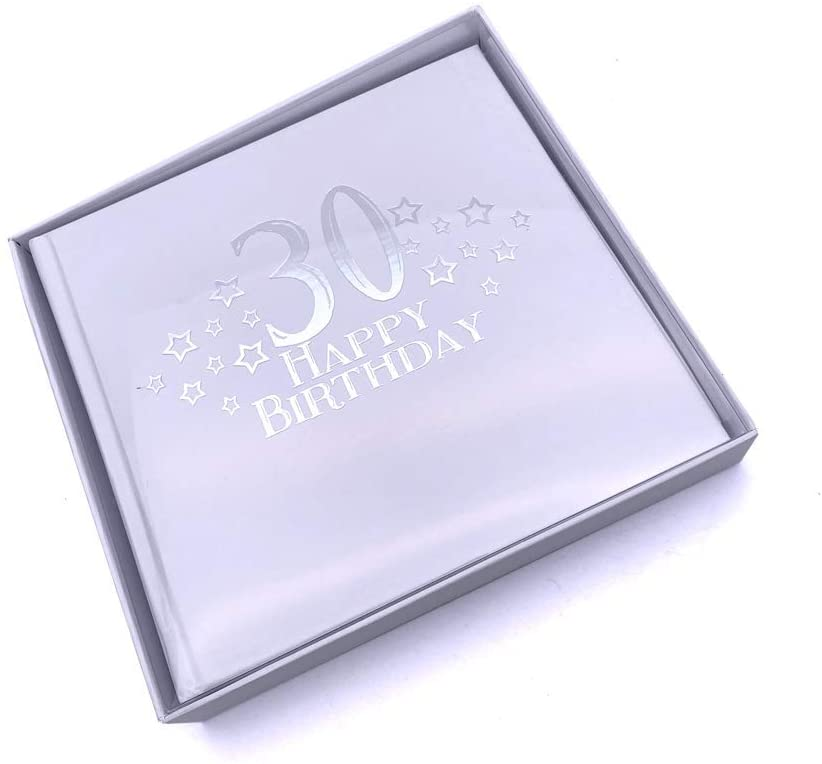ukgiftstoreonline 30th Birthday Photo Album For 50 x 6 by 4 Photos Silver Print