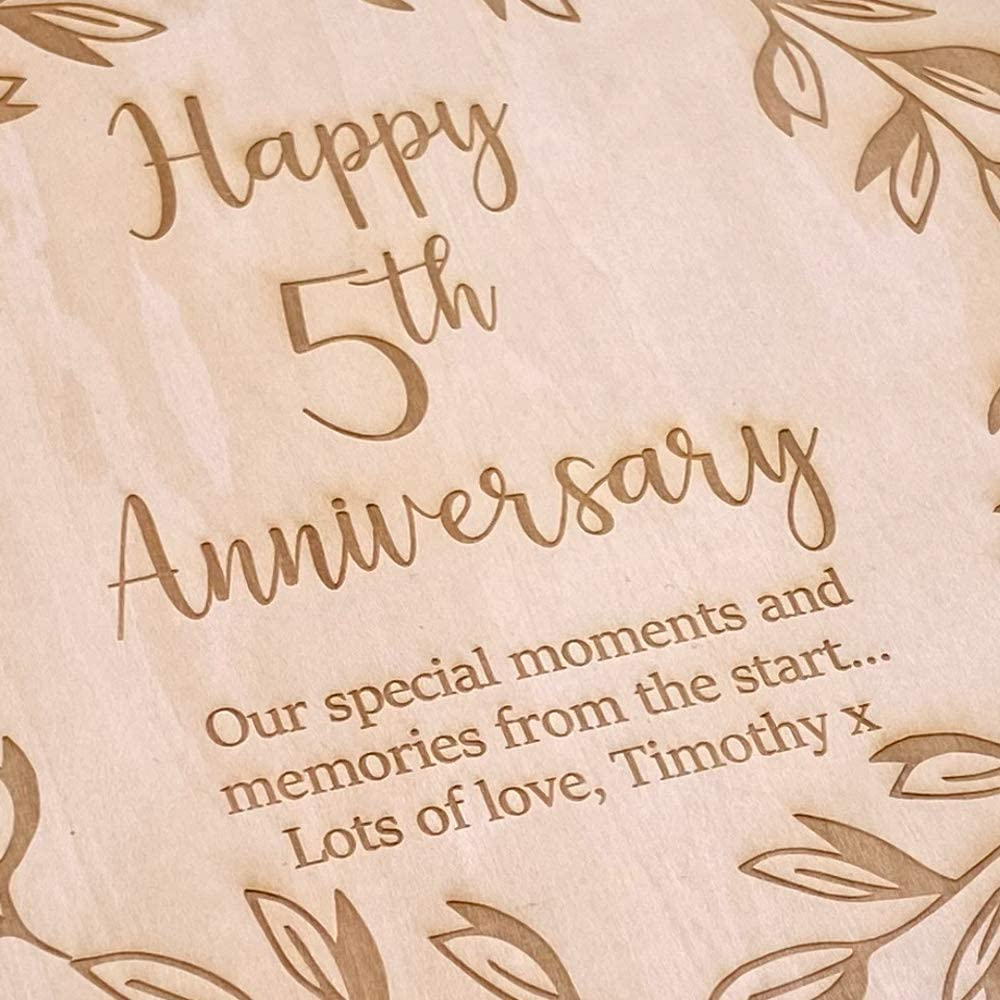 ukgiftstoreonline Personalised 5th Anniversary Wooden Photo Album Scrapbook Keepsake Gift