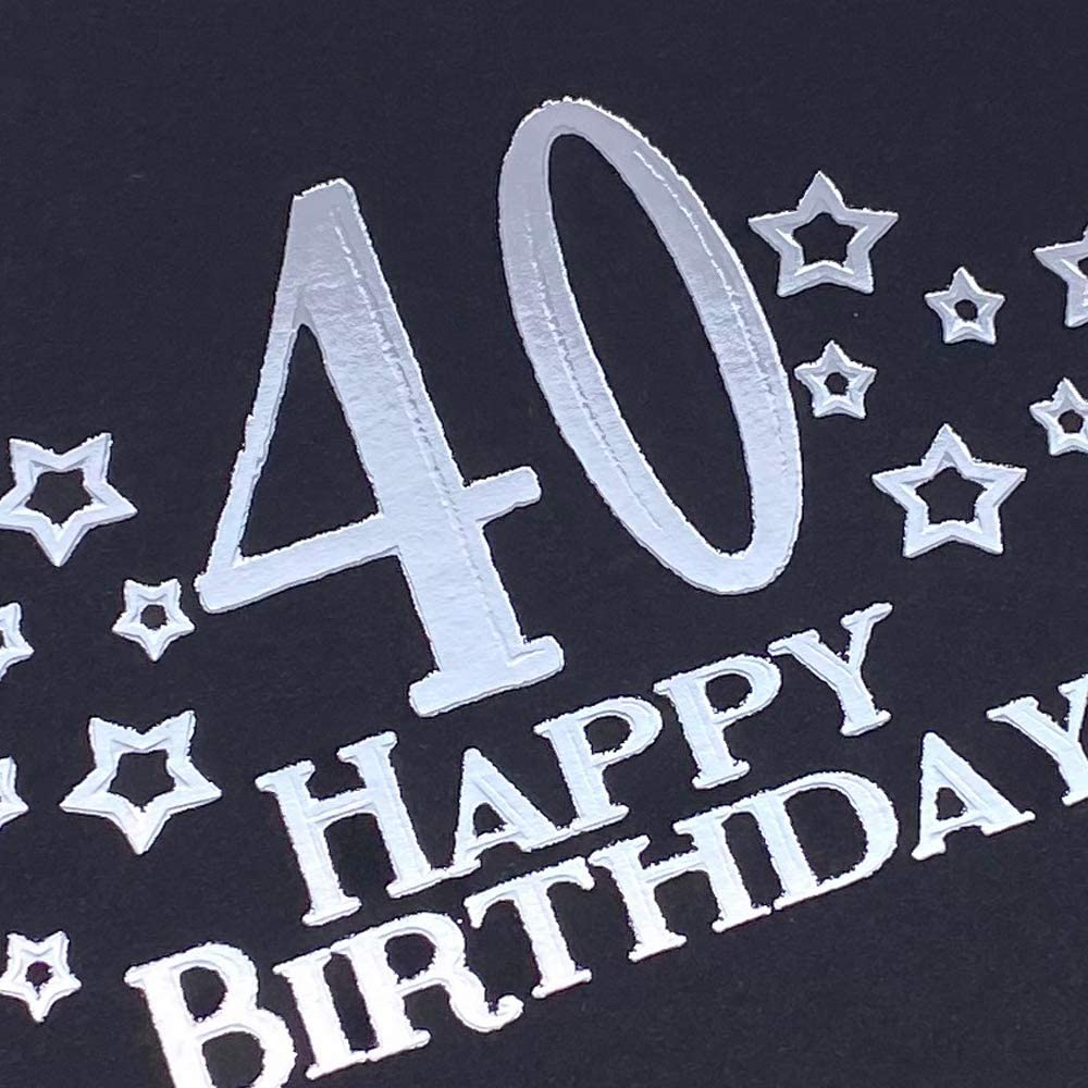 40th Birthday Black Scrapbook, Guest Book Or Photo Album with Silver Script