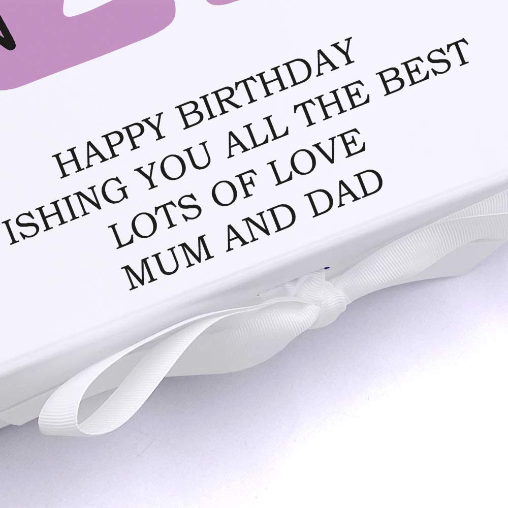 ukgiftstoreonline Personalised Birthday Gift Keepsake Memory Box Any Age Name and Sentiment