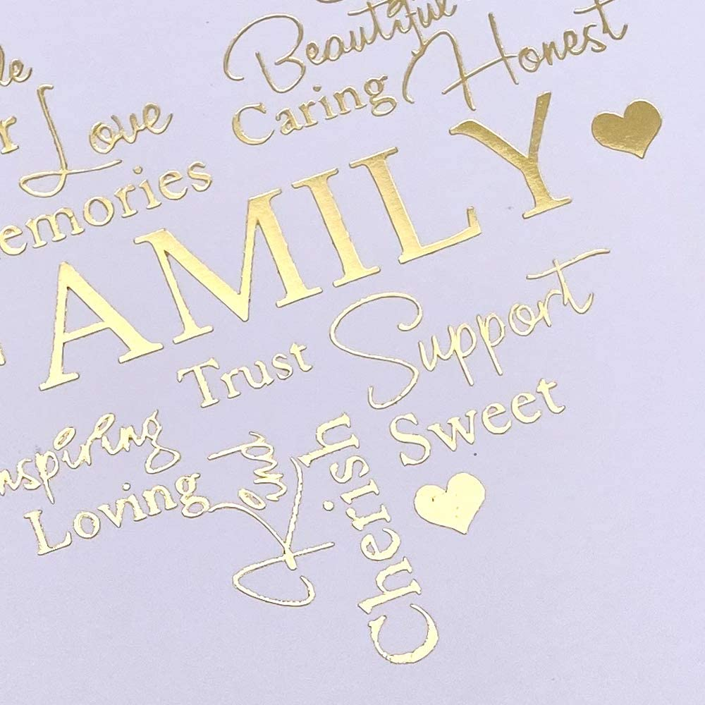 Family Themed White Scrapbook Photo Album with Gold Script