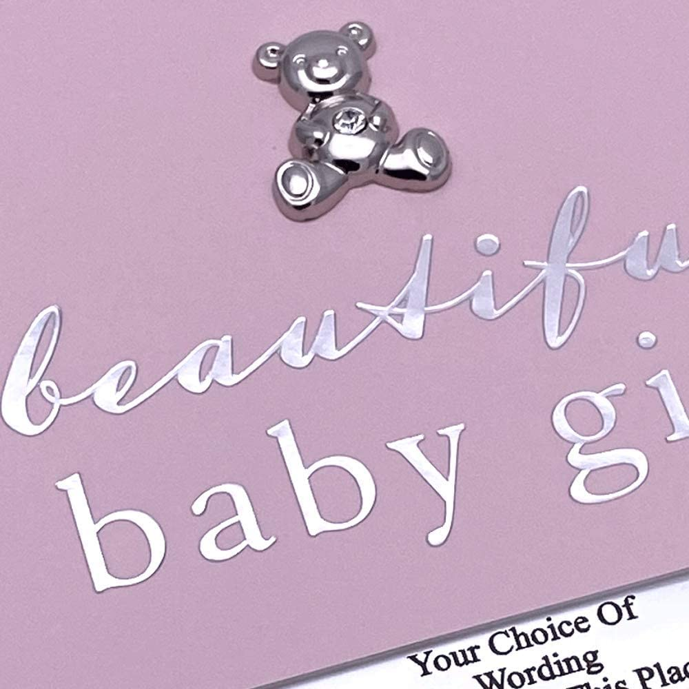 ukgiftstoreonline Personalised Baby Girl Photo Album 50 Pictures Pink and Silver