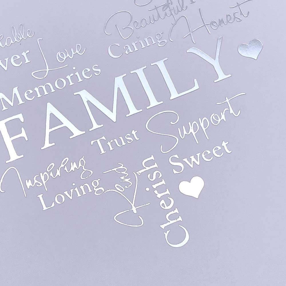 Family Themed White Scrapbook Photo Album with Silver Script