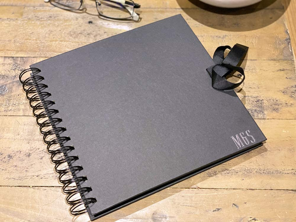 Personalised Initials Metal Stamped Black Scrapbook Photo Album Or Guest Book