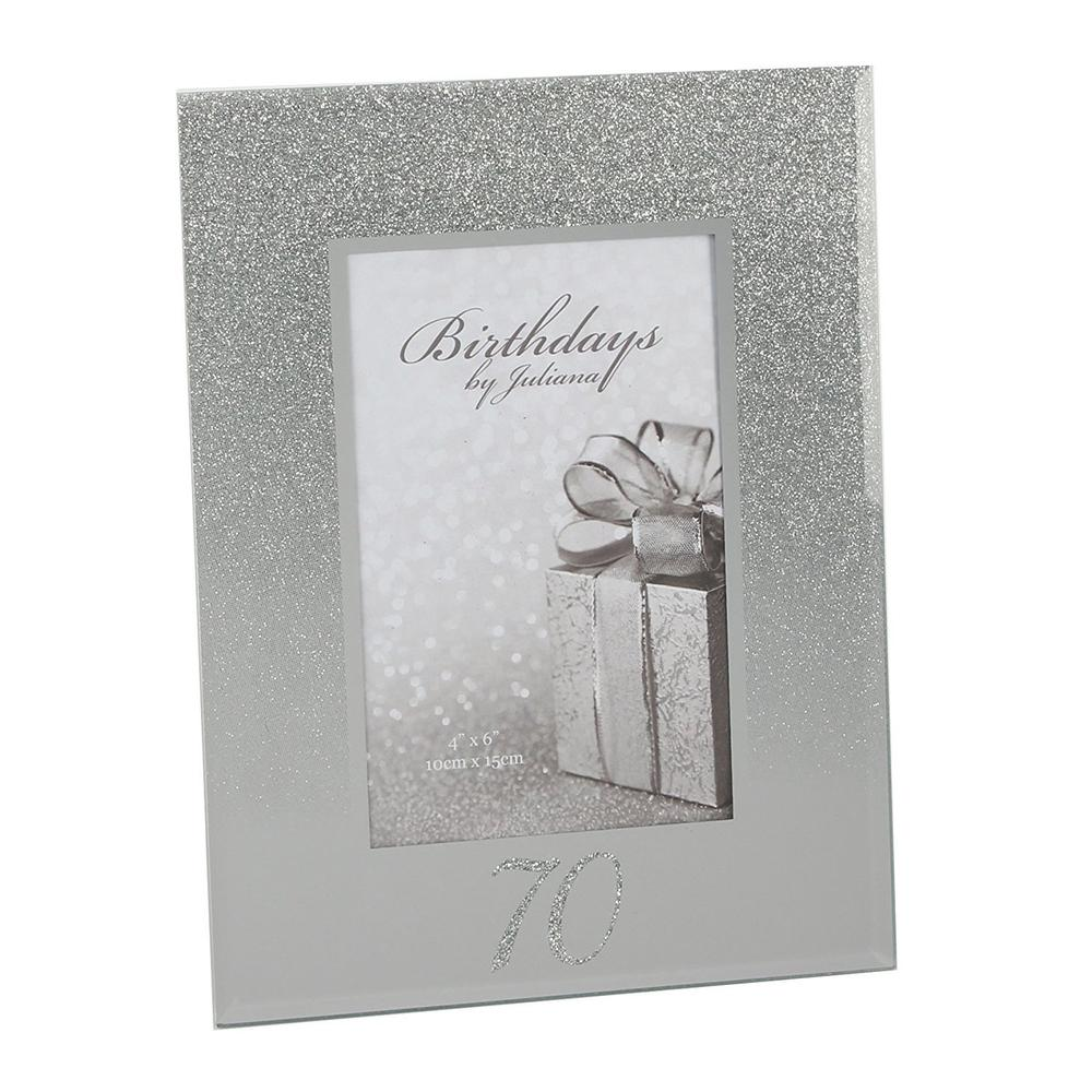"70th Birthday Glitter and Mirror Photo Frame 4"" x 6"" Gift Boxed - ukgiftstoreonline"