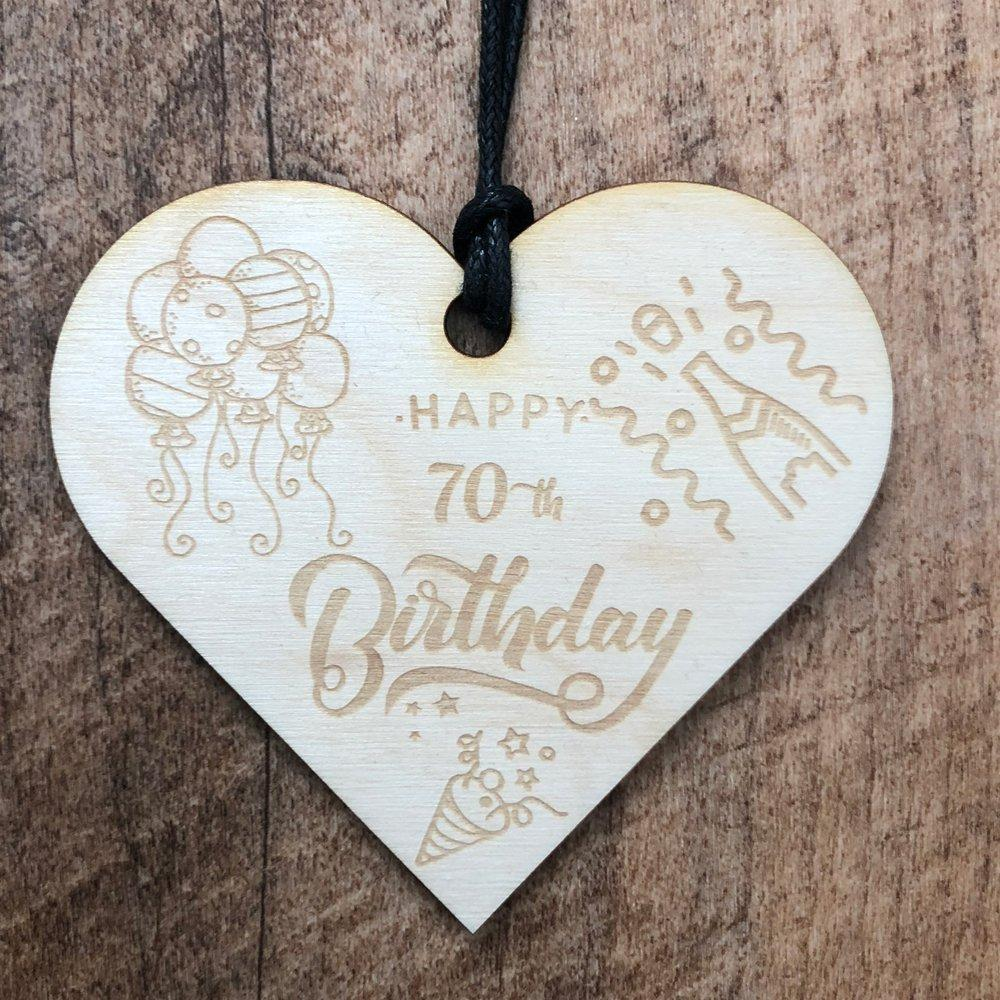 70th Birthday Wooden Hanging Heart Wedding Plaque Gift - ukgiftstoreonline