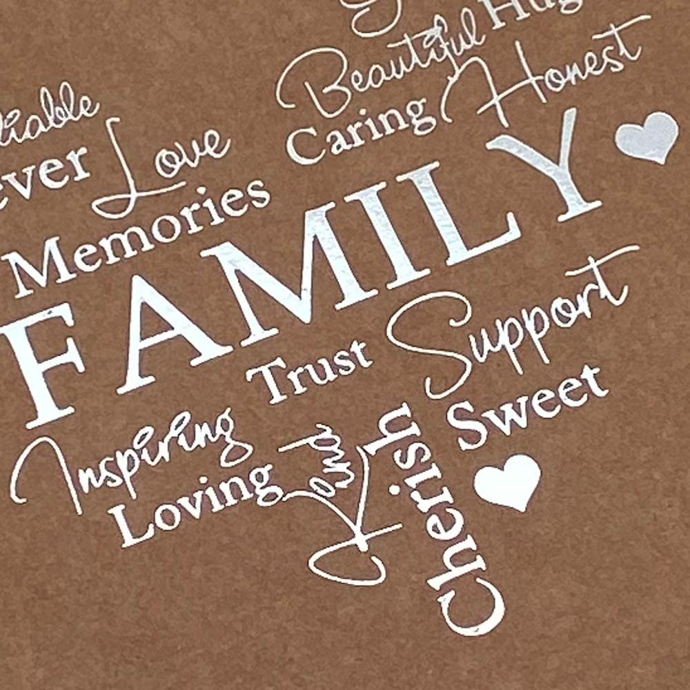 Family Themed Brown Scrapbook Photo Album with Silver Script