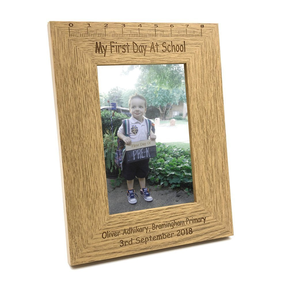Personalised Engraved My First Day Of School Wooden Photo Frame Keepsake