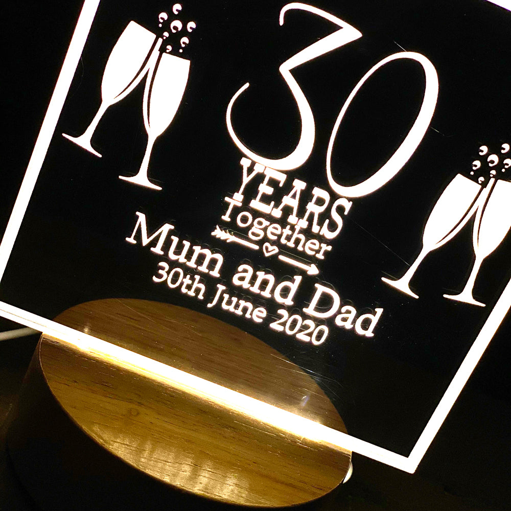 Personalised Anniversary Gift lamp 1st, 5th, 10th, 25th, 30th, 40th, 50th