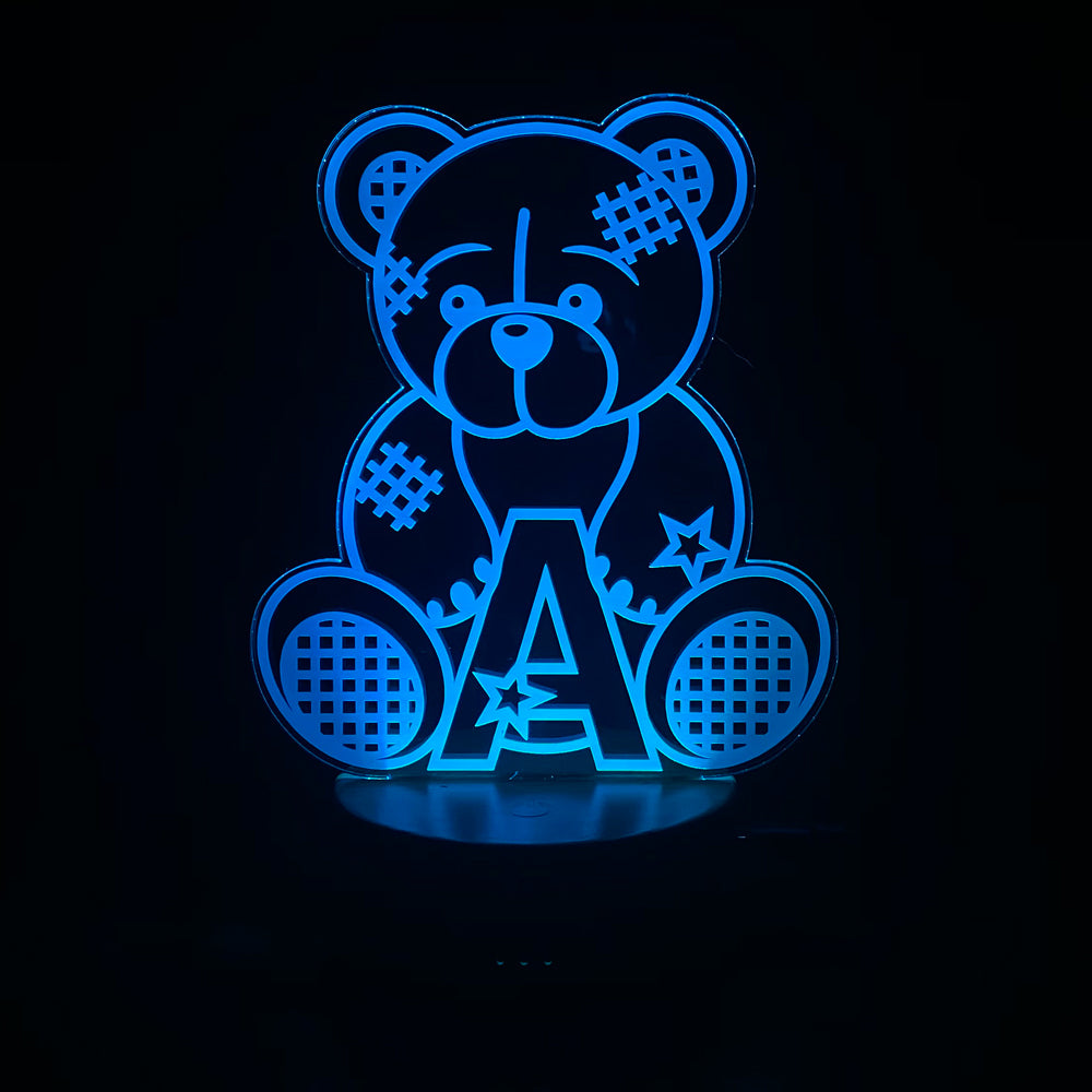 Personalised Teddy Design Gift Lamp Night Light Kids Bedroom