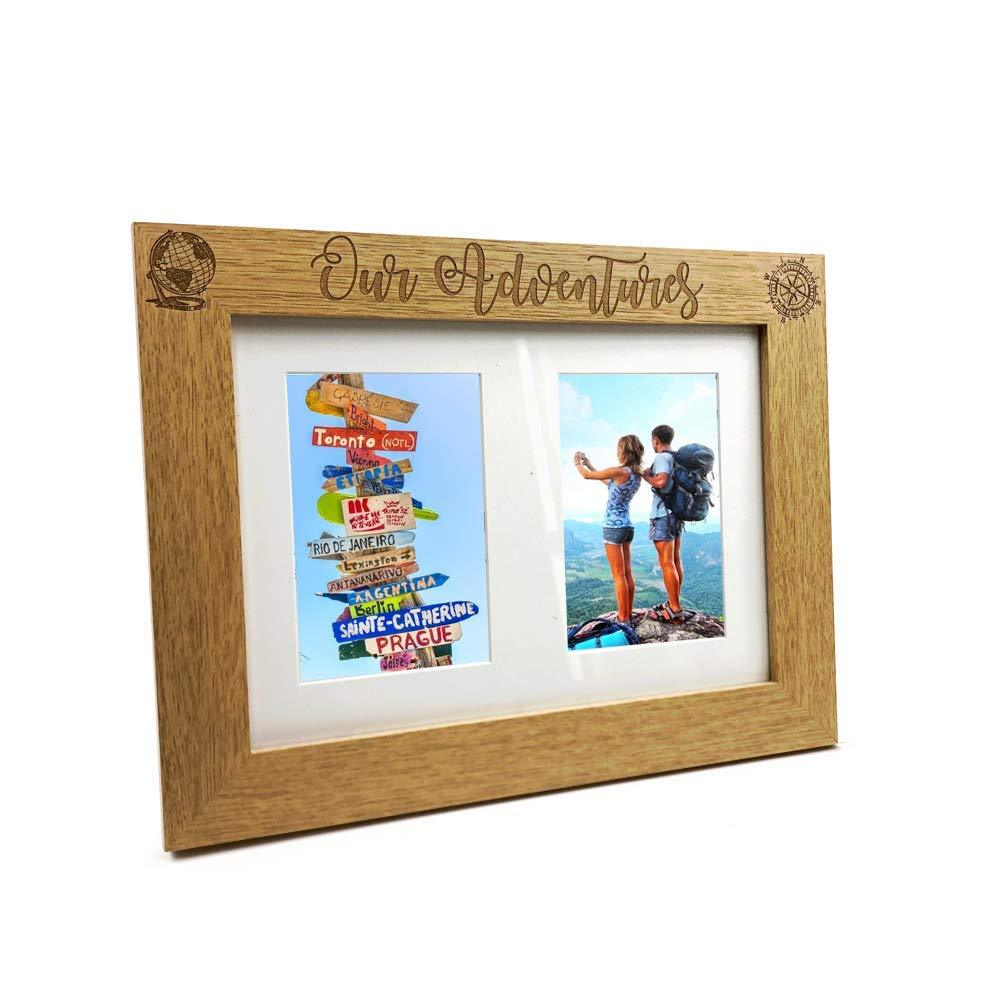 Adventures Travel Holiday Wooden Double picture photo frame - ukgiftstoreonline
