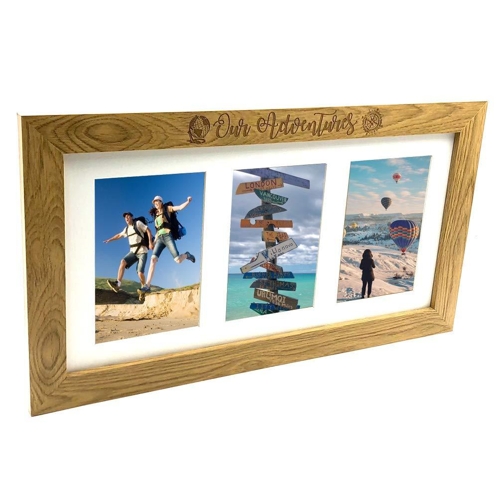 "Adventures Travel Holiday Wooden Triple picture photo frame 6"" x 4"" - ukgiftstoreonline"