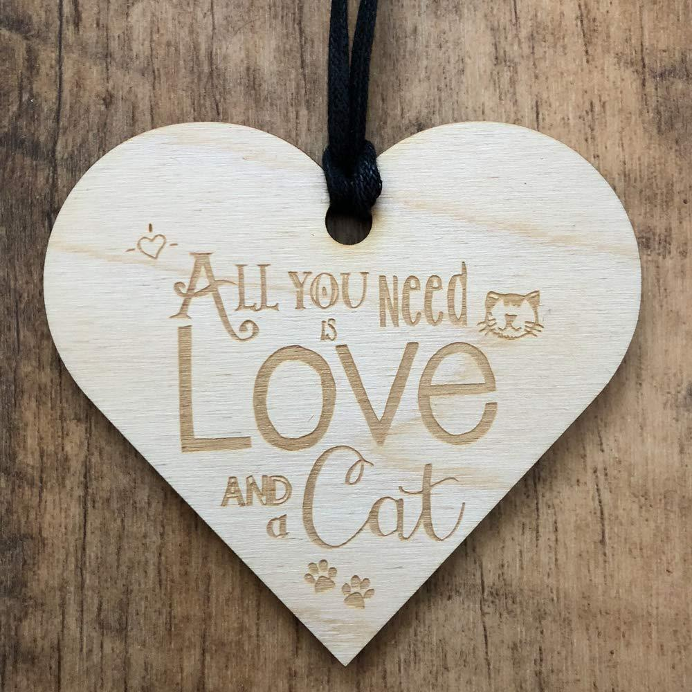 All You Need Is Love and A Cat Heart Wooden Plaque Gift - ukgiftstoreonline