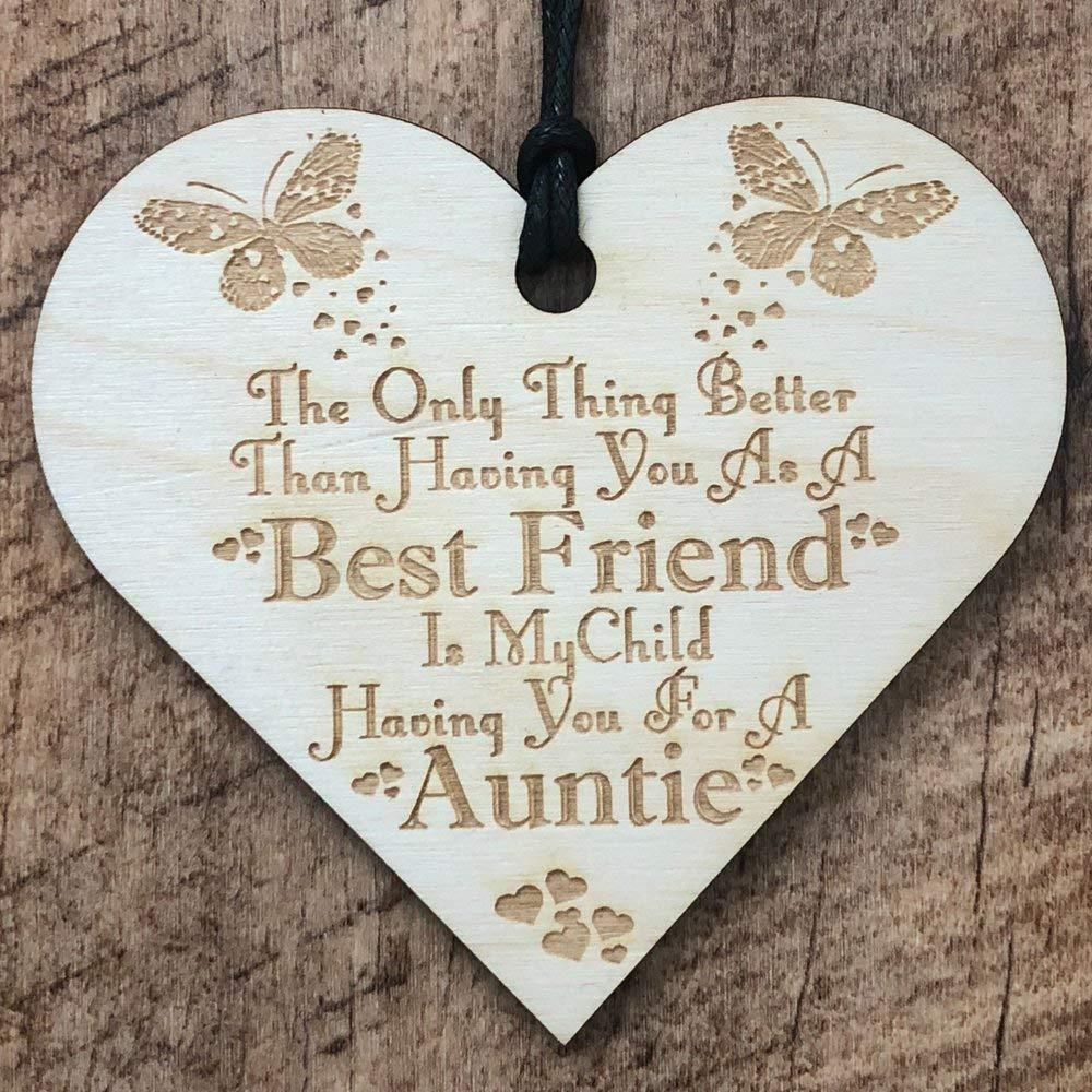 Auntie and Best Friend Heart Wooden Plaque Gift - ukgiftstoreonline