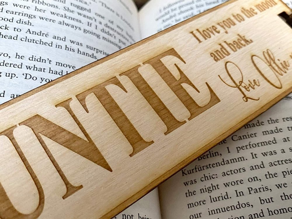 Auntie Gift Personalised Wooden Engraved Bookmark - ukgiftstoreonline