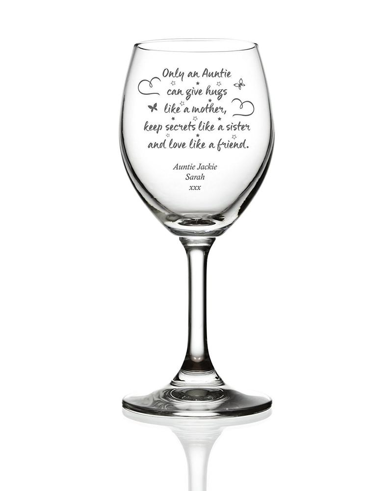 Auntie Hugs Sentiment Personalised Engraved Wine Glass - ukgiftstoreonline