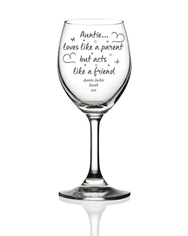 Auntie Love Sentiment Personalised Engraved Wine Glass - ukgiftstoreonline