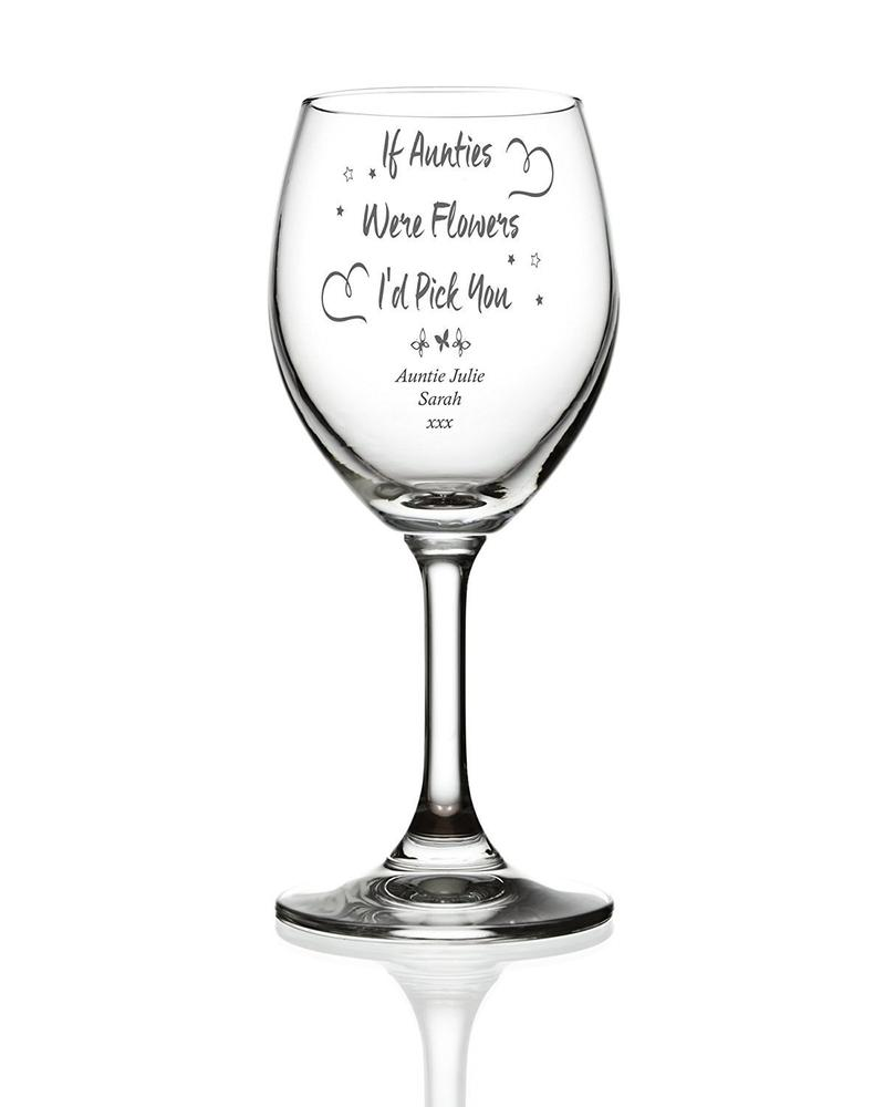 Auntie Sentiment Personalised Engraved Wine Glass - ukgiftstoreonline