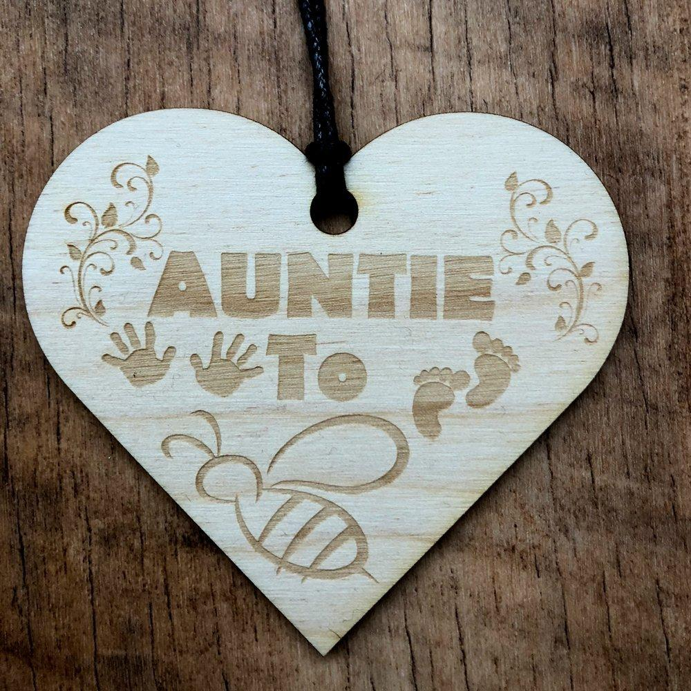 Auntie To Be Wooden Hanging Heart Plaque Gift - ukgiftstoreonline