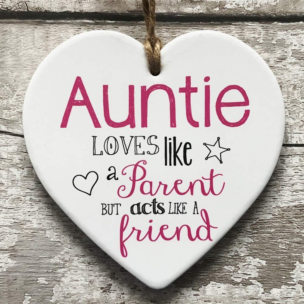 Auntie verse large ceramic heart plaque gift - ukgiftstoreonline