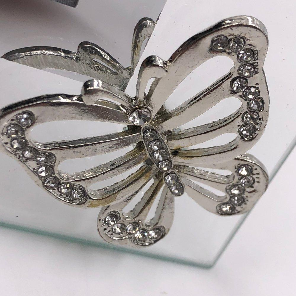 "Beautiful Glass Butterfly Diamante and Flowers Glass Photo Frame 4"" x 6"" - ukgiftstoreonline"