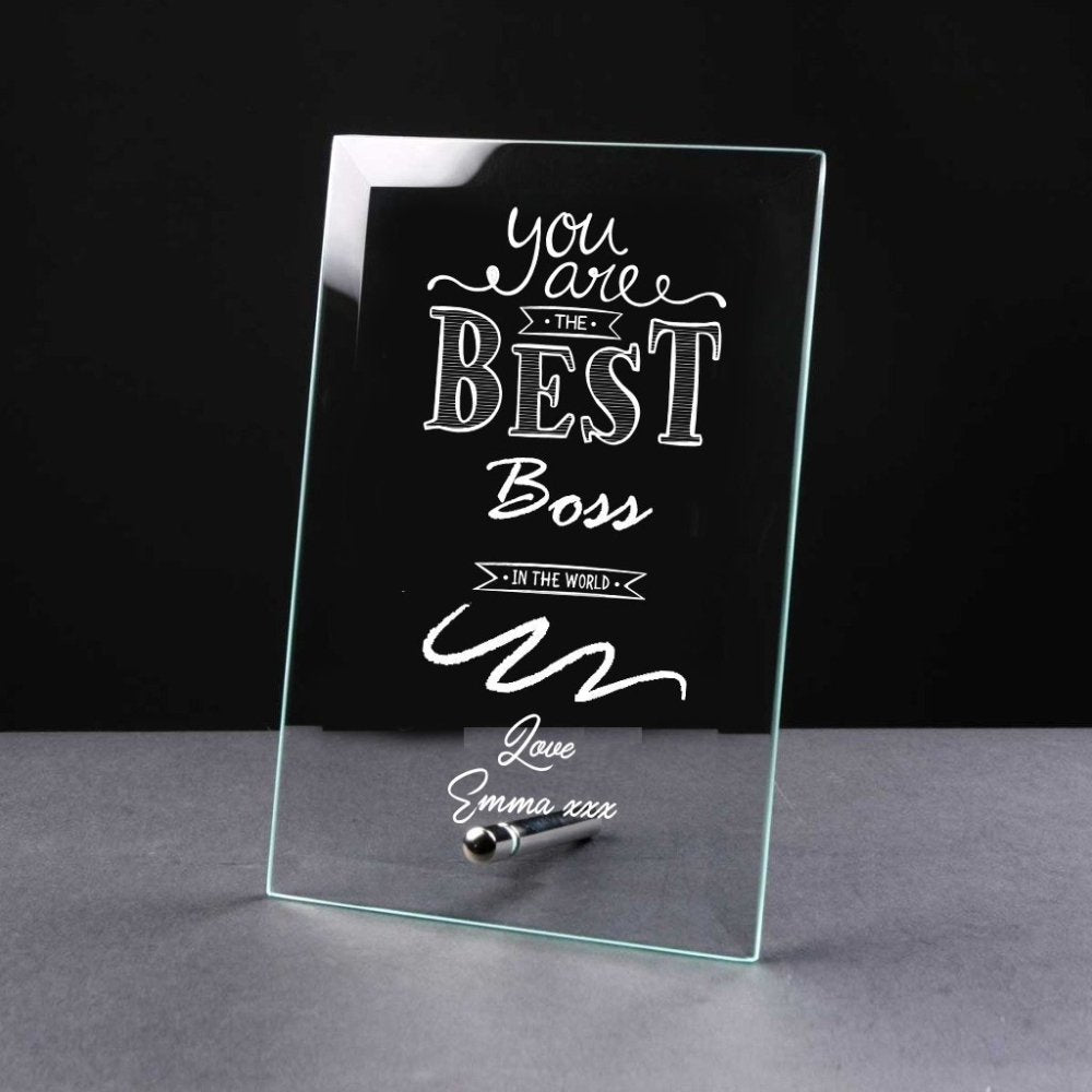 Best Boss Gift Sentiment Personalised Engraved Glass Plaque - ukgiftstoreonline