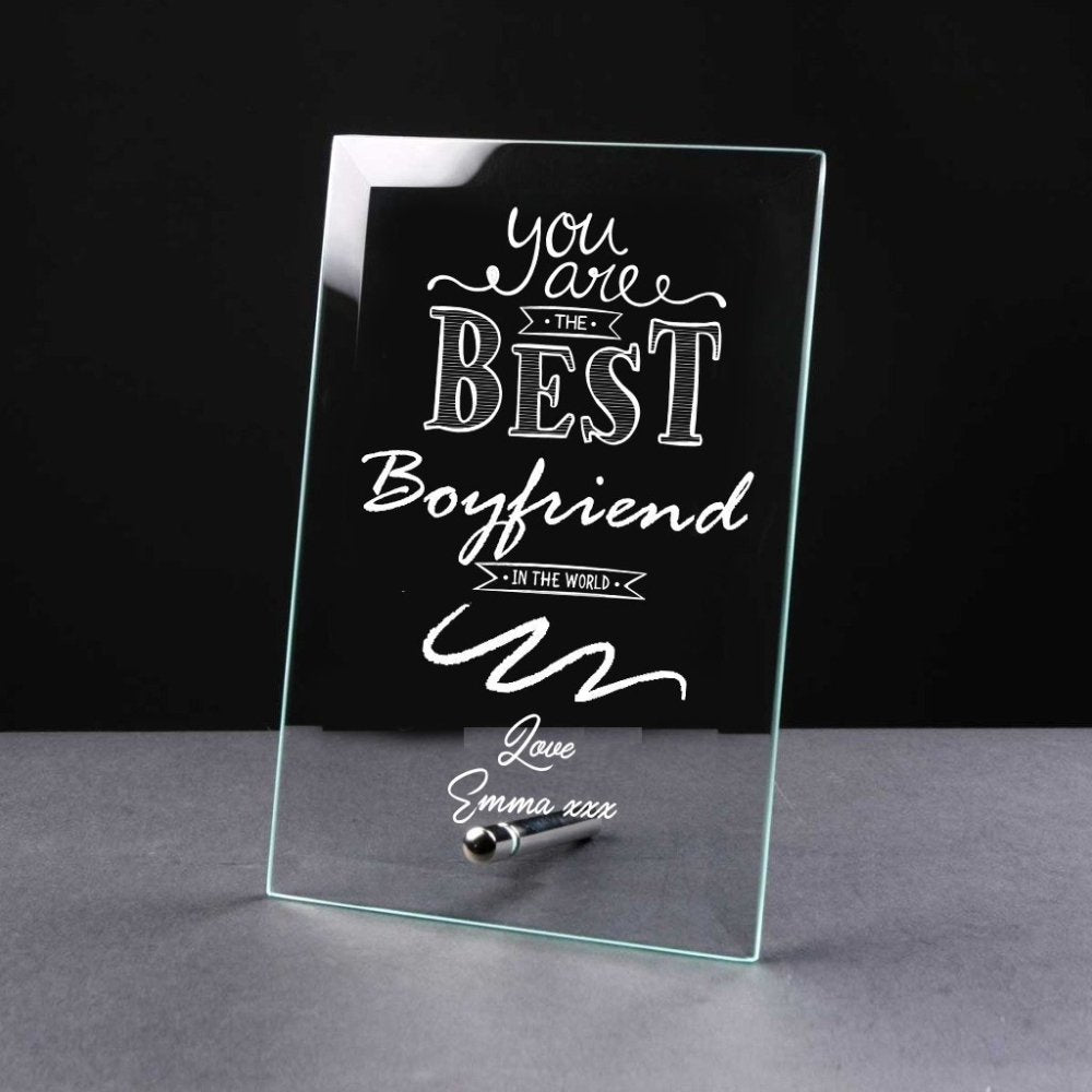 Best Boyfriend Gift Sentiment Personalised Engraved Glass Plaque - ukgiftstoreonline
