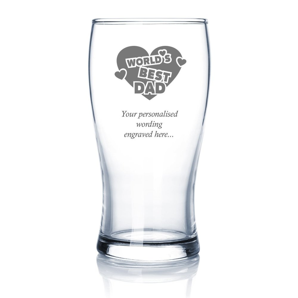 Best Dad Sentiment Personalised Engraved Beer Glass - ukgiftstoreonline