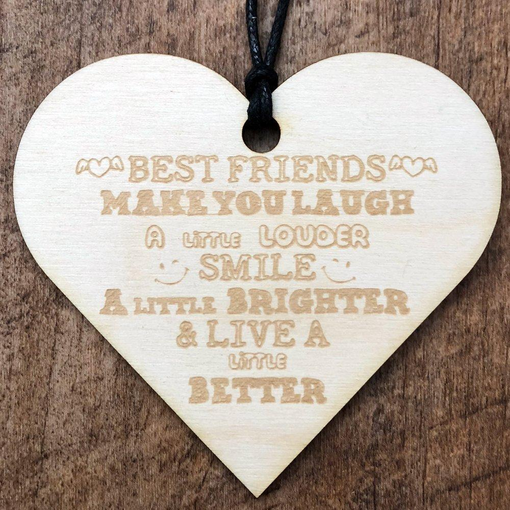 Best Friends Make You Laugh Wooden Hanging Heart Plaque Gift - ukgiftstoreonline