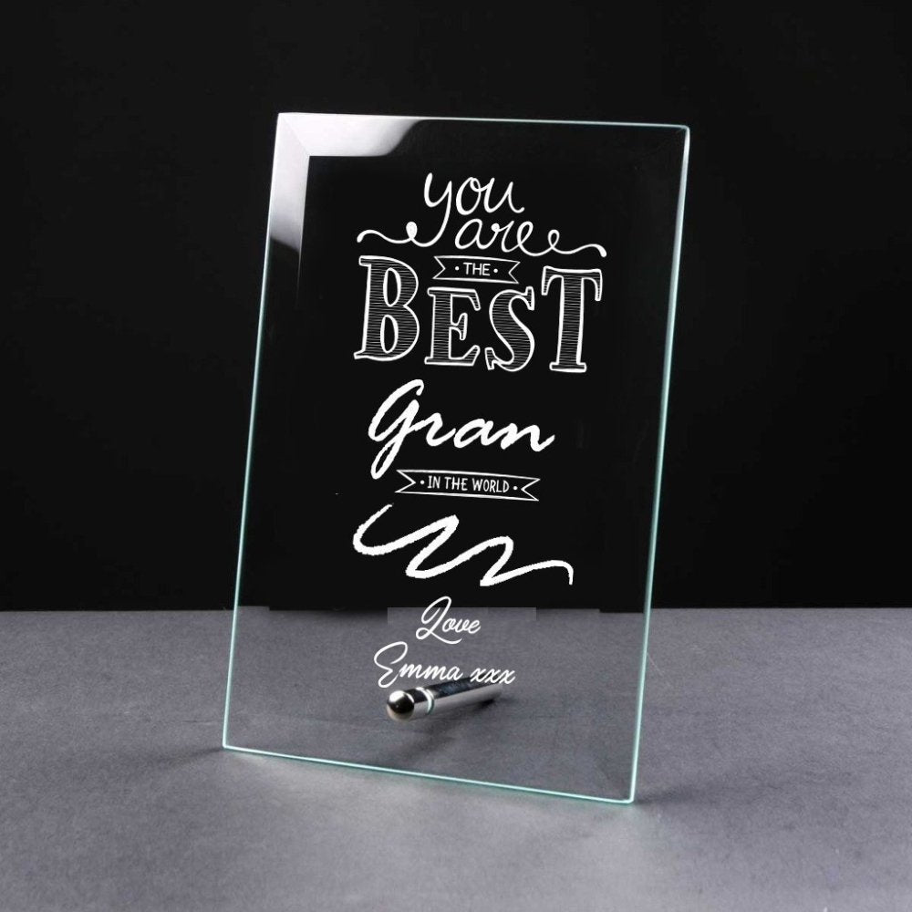 Best Gran Gift Sentiment Personalised Engraved Glass Plaque - ukgiftstoreonline