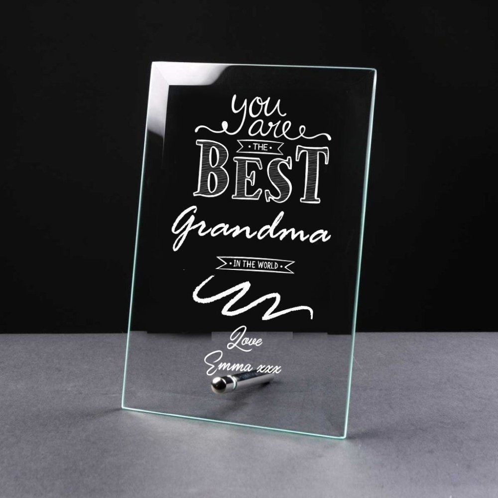 Best Grandma Gift Sentiment Personalised Engraved Glass Plaque - ukgiftstoreonline