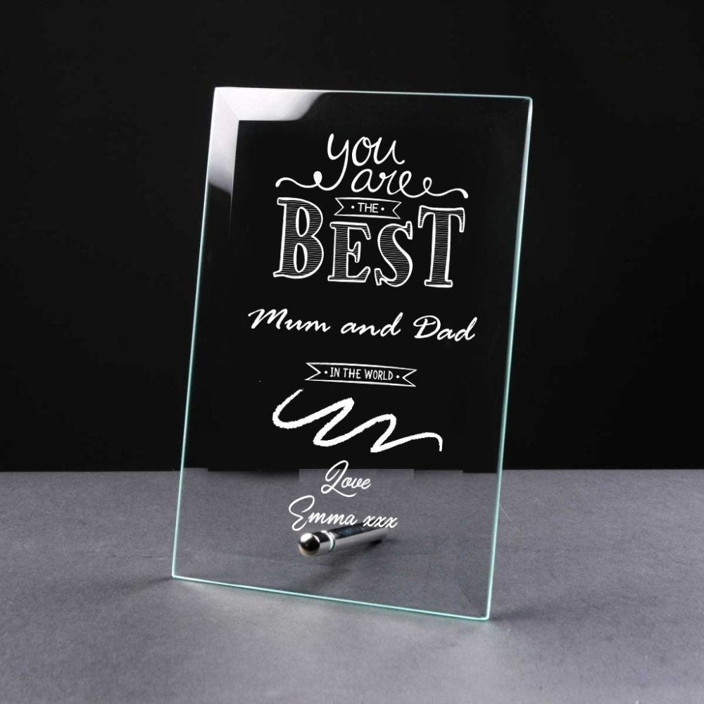 Best Mum and Dad Gift Sentiment Personalised Engraved Glass Plaque - ukgiftstoreonline