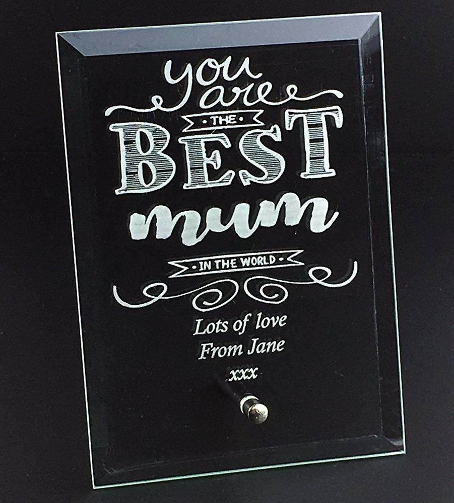 Best Mum In The World Personalised Engraved Glass Plaque - ukgiftstoreonline