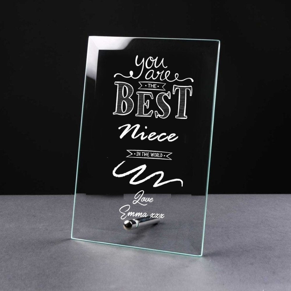 Best Niece Gift Sentiment Personalised Engraved Glass Plaque - ukgiftstoreonline