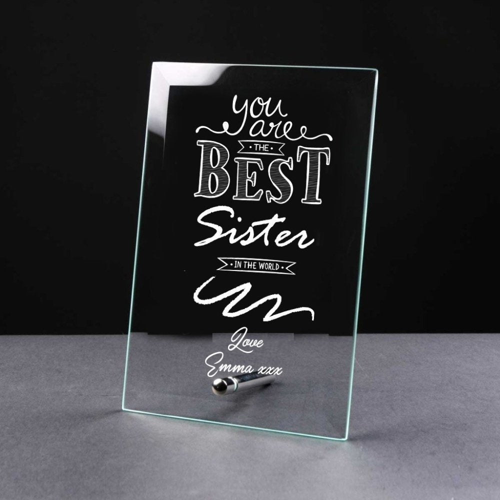 Best Sister Gift Sentiment Personalised Engraved Glass Plaque - ukgiftstoreonline