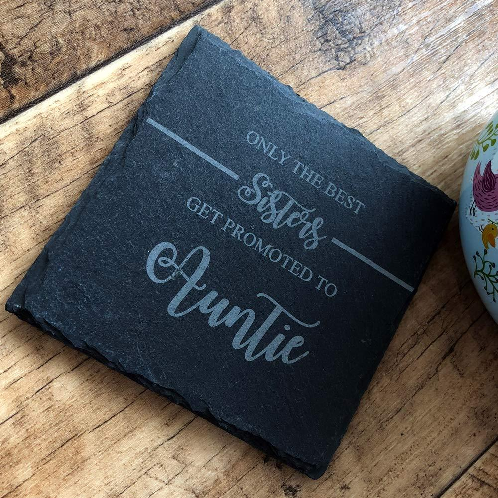 Best Sisters Get Promoted To Auntie Slate Coaster Gift - ukgiftstoreonline