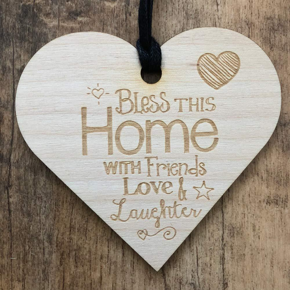 Bless This Home Friends Love Laughter Wooden Plaque Gift - ukgiftstoreonline
