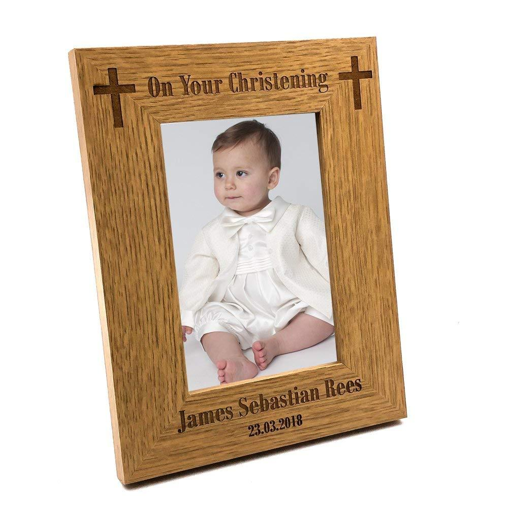 Christening Gift Personalised Engraved Wooden Photo Frame - ukgiftstoreonline