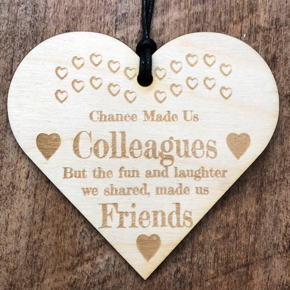 Colleagues To Friends Hanging Heart Plaque Gift - ukgiftstoreonline
