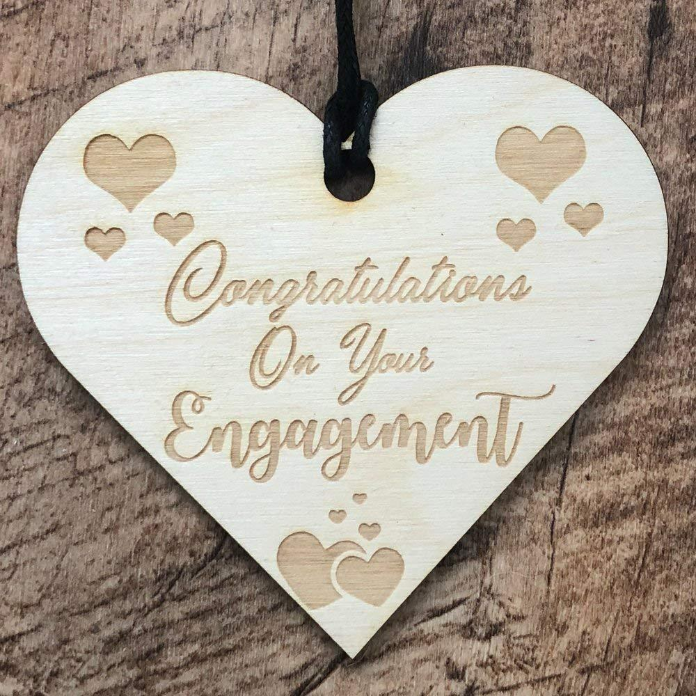 Congratulations On Your Engagement Heart Wooden Plaque Gift - ukgiftstoreonline