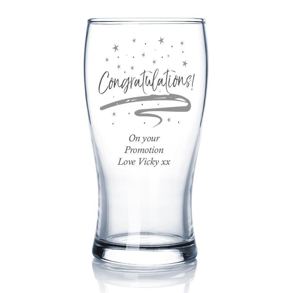 Congratulations Sentiment Personalised Engraved Beer Glass - ukgiftstoreonline