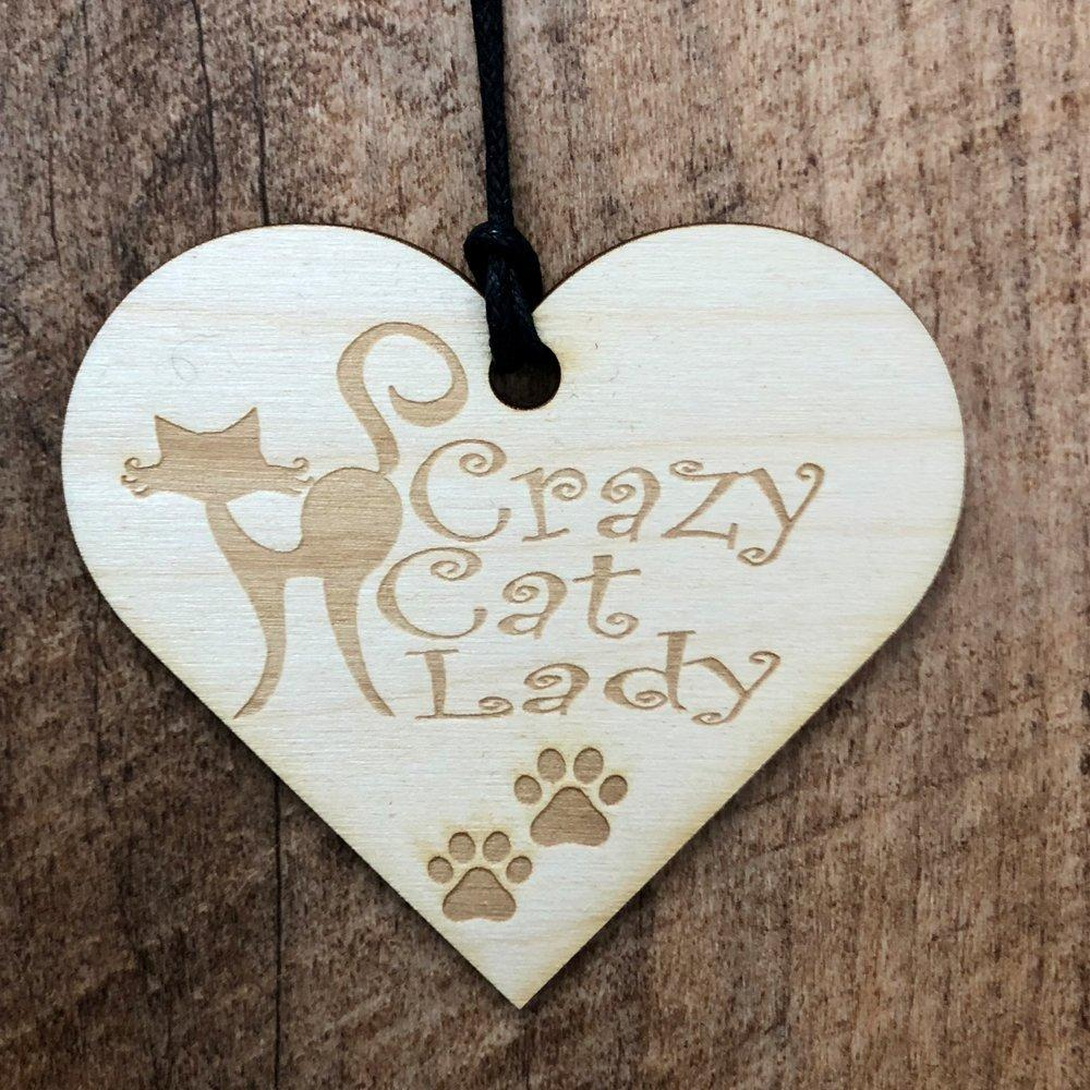 Crazy Cat Lady Wooden Hanging Heart Plaque Gift - ukgiftstoreonline