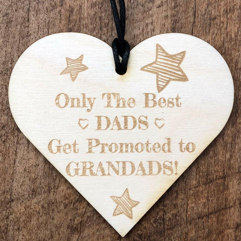 Dads Get Promoted To Grandad Wooden Hanging Heart Plaque Gift - ukgiftstoreonline