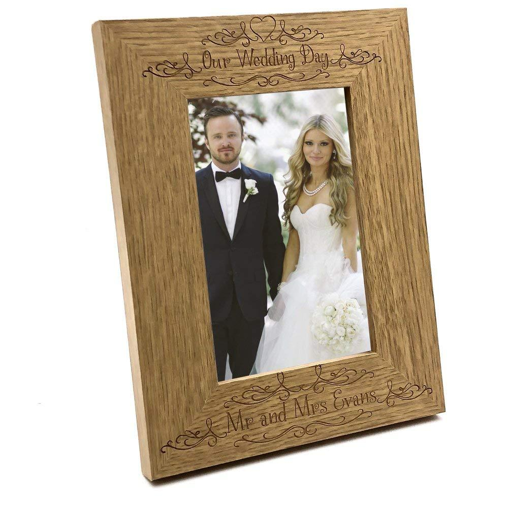 Elegant Personalised Our Wedding Day Wooden Photo Frame Gift - ukgiftstoreonline