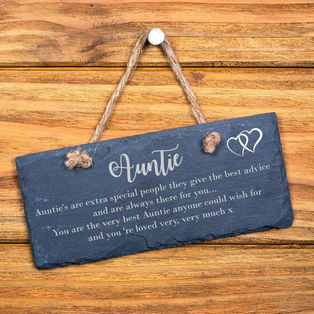 Extra special auntie sentiment hanging slate gift - ukgiftstoreonline