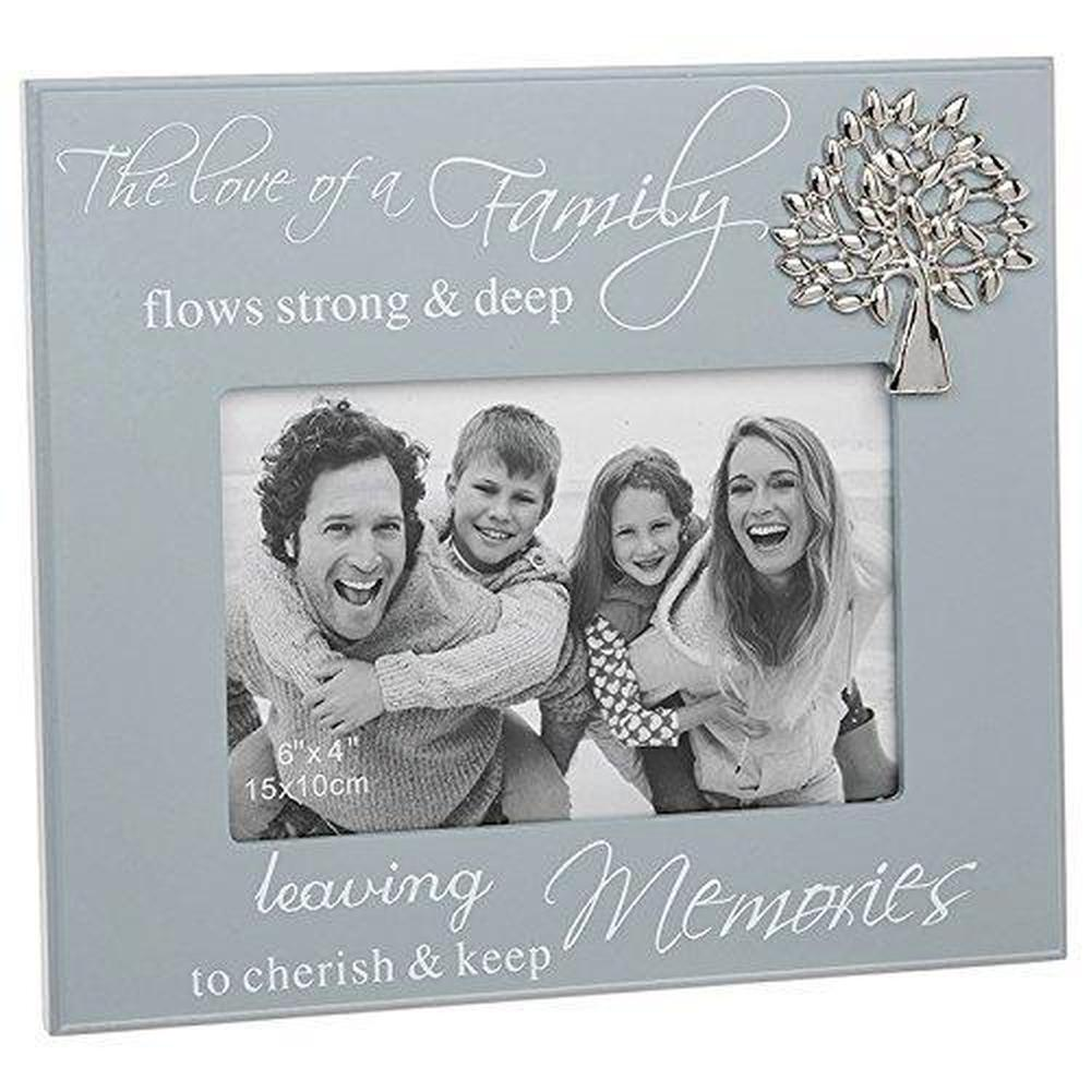 Family Grey Photo Frame With Sentiment and Raised Tree Gift - ukgiftstoreonline