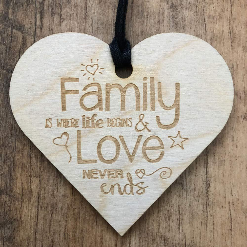 Family is where life begins Wooden Plaque Gift - ukgiftstoreonline